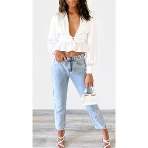 NWOT Vintage Wash Button Waist Straight Leg Jeans